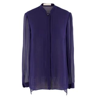 Matthew Williamson Indigo Silk Sheer Shirt