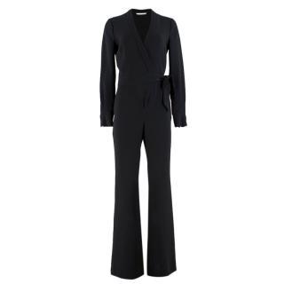 Diane Von Furstenberg Black Wrap Tie Jumpsuit