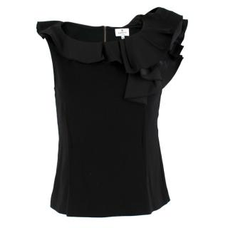 Lanvin En Bleu Black Taffeta Ruffled Jersey Top