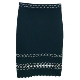 Alexander McQueen Scallop-Trimmed Knit Pencil Skirt