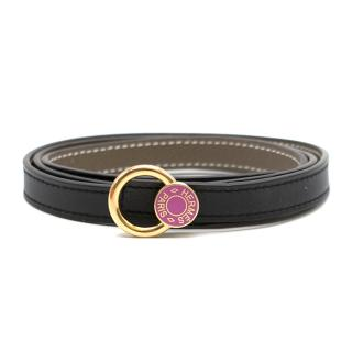 Hermes Black Mini pink Enamel Hermes  Buckle & Reversible 90 cm belt