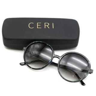 Ceri Black Tortoise Round Sunglasses