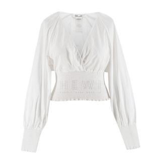 Diane Von Furstenberg White Cotton Smocked Wrap Top