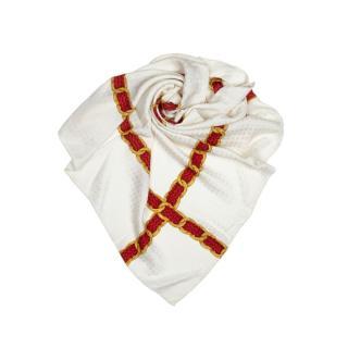 Chanel cream printed silk scarf