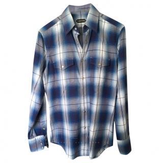 Tom Ford Blue Checked Shirt