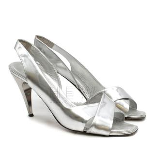 Louis Vuitton Silver Heeled Sandals