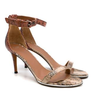 Givenchy Terracotta Snake Leather Heeled Sandals