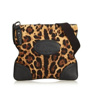 Dolce & Gabbana Leopard Printed Cotton Crossbody Bag
