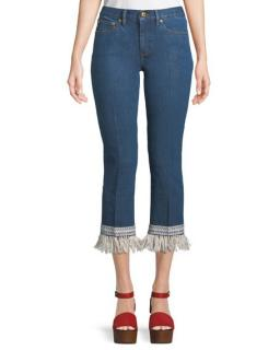 Tory Burch Blue Jeans with White Fringed Hem