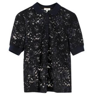 Claudie Pierlot black & Navy Lace Polo T-shirt