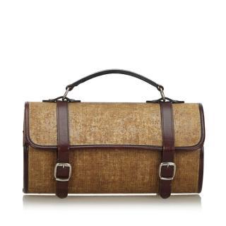 Chanel Leather-Trimmed Cylinder Fabric Handbag