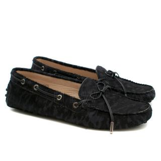 Tod's Black Pony Hair Gommino Driving Shoes