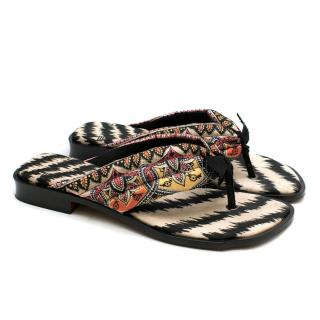 Etro Quilted-Satin Printed Sandals