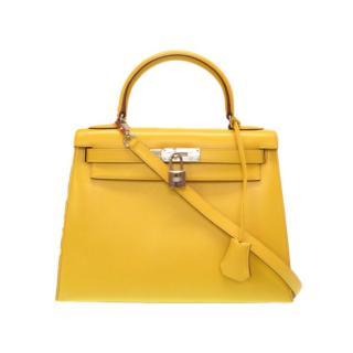 Hermes Yellow Tadelakt Leather 28 Kelly Bag