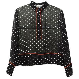 Ganni Polka-Dot Print Chiffon Shirt