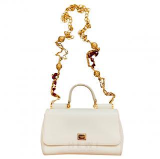 Dolce & Gabbana White Sicily Leather handbag