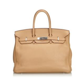 Hermes Clemence Leather Birkin 35 Bag