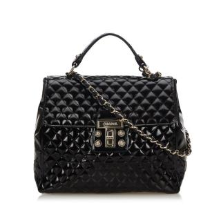 Chanel Quilted Patent Leather Large Shoulder Bag