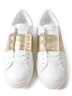 Valentino Rockstud Untitled Gold Leather Trainers