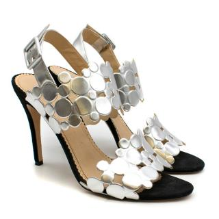 Charlotte Olympia Silver Bubble Leather Heeled Sandals