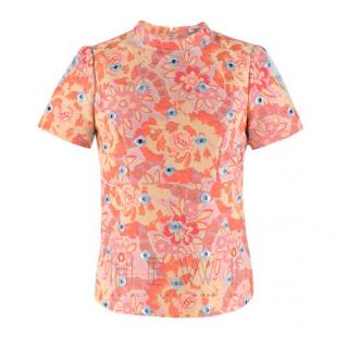 Erdem Silk Blend Orange & Mint Jacquard Top