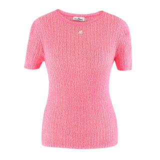 Courreges Neon-Pink Knitted Top