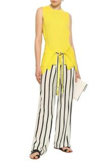 Amanda Wakeley Tie-Front Yellow Cashmere Sleeveless Top