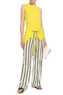 Amanda Wakeley Tie-Front Yellow Cashmere Sleeveless Top