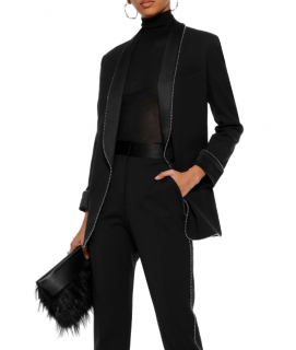 Alexander Wang Bead-Embellished Black Wool-Blend Blazer