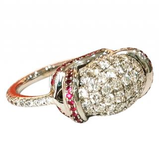 Bespoke 18ct Gold Ruby & Diamond Bombe ring