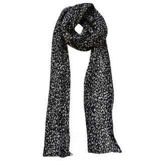 Saint Laurent Leopard-Print Wool & Silk-Blend Scarf