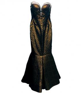 J Mendel bronze/black strapless evening gown