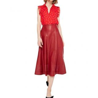 Kate Spade Engine Red Leather Midi Skirt