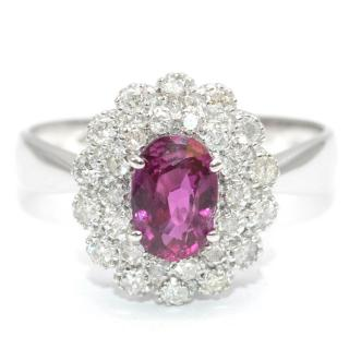 Bespoke 18k white gold ruby and diamond ring