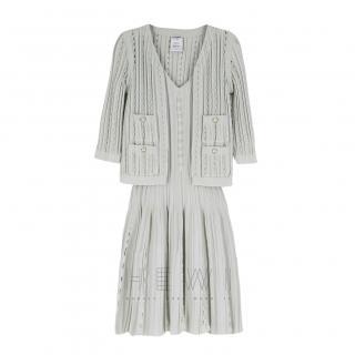 Chanel Cotton-Knit Mint Dress & Cardigan Set