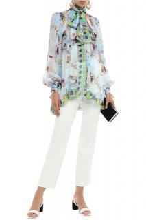 Dolce & Gabbana printed silk chiffon pussy blow blouse