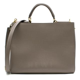 Dolce & Gabbana Taupe-Grey Pebble Leather Tote