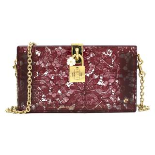 Dolce & Gabbana Taormina Plexiglass and Lace Box Clutch Current Season