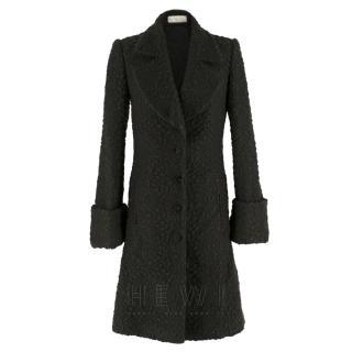 Stella McCartney Green Cloque Wool Coat