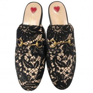 Gucci Black Lace Backless Loafers