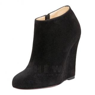 Christian Louboutin Black Suede Wedge Booties