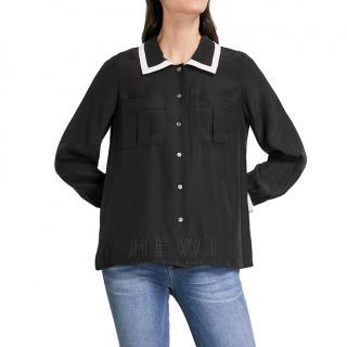 Frame Contrast-Trim Black Silk Shirt