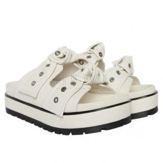 Alexander McQueen White Leather Eyelet-Bow Platform Sandals