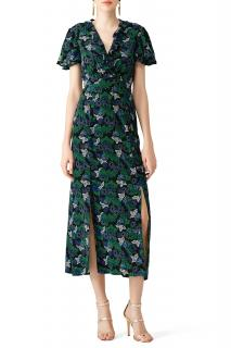 Saloni Josee Floral-Print Navy and Green Dress