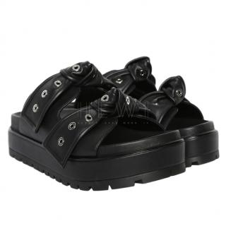 Alexander McQueen Black Leather Eyelet-Bow Platform Sandals