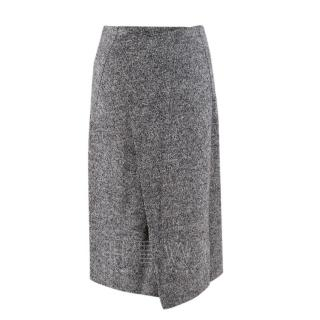 Sandro Grey-Melange Bonded Wrap Skirt