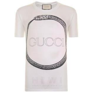 Gucci Snake Logo-Print White T-shirt
