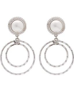 Alessandra Rich Crystal & Faux-Pearl Embellished Clip-On Earrings