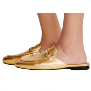 Gucci gold leather princetown flats