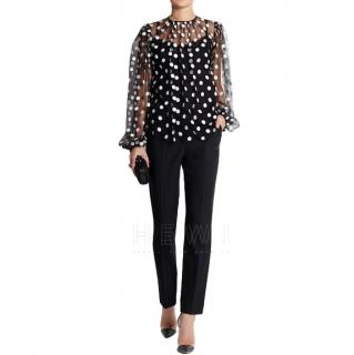 Dolce & Gabbana polka-dot embroidered black tulle blouse